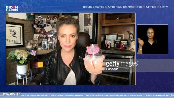 In this screenshot from the DNCC's livestream of the 2020 Democratic National Convention After Party, Alyssa Milano speaks to the virtual convention...