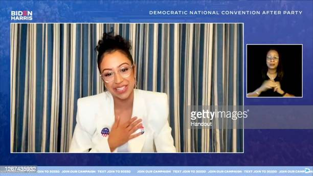In this screenshot from the DNCC's livestream of the 2020 Democratic National Convention After Party, Liza Koshy speaks to the virtual convention...