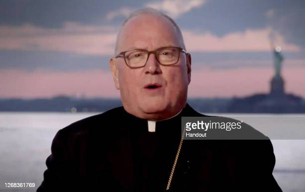 In this screenshot from the RNC's livestream of the 2020 Republican National Convention, Archbishop Of New York Timothy Cardinal Dolan addresses the...