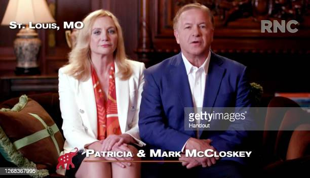 In this screenshot from the RNC's livestream of the 2020 Republican National Convention, Patricia and Mark McCloskey, a couple from St. Louis who...