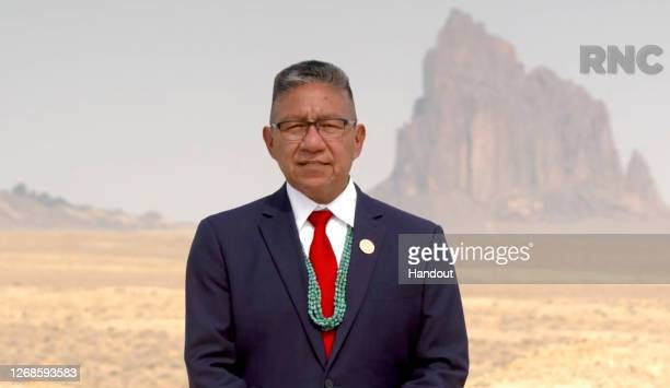 In this screenshot from the RNC's livestream of the 2020 Republican National Convention, Navajo Nation Vice President Myron Lizer addresses the...