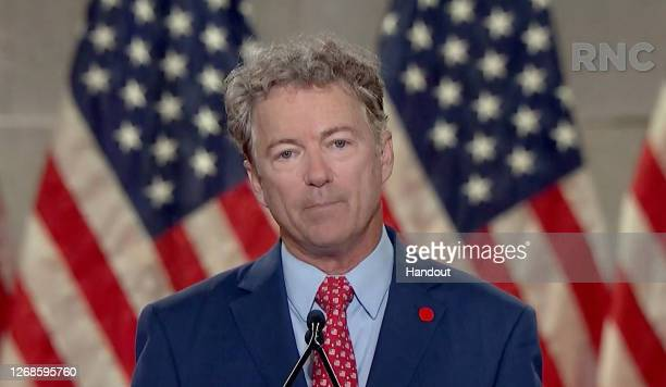 In this screenshot from the RNC's livestream of the 2020 Republican National Convention, U.S. Sen. Rand Paul addresses the virtual convention on...