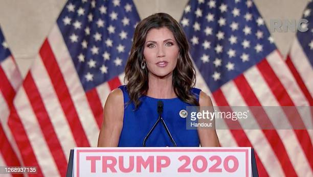 In this screenshot from the RNC's livestream of the 2020 Republican National Convention, South Dakota Gov. Kristi Noem addresses the virtual...