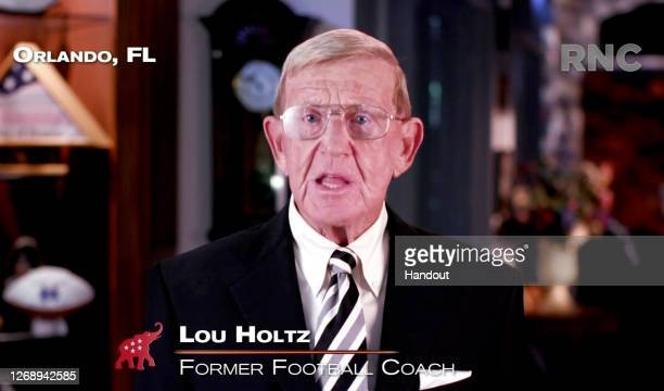 In this screenshot from the RNC's livestream of the 2020 Republican National Convention, Former South Carolina Gamecocks football coach Lou Holtz...