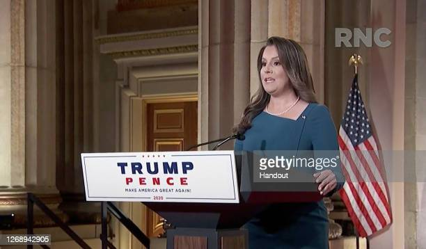 In this screenshot from the RNC's livestream of the 2020 Republican National Convention, U.S. Rep. Elise Stefanik addresses the virtual convention on...