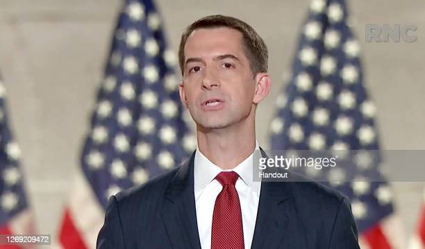 In this screenshot from the RNC's livestream of the 2020 Republican National Convention, U.S. Sen. Tom Cotton addresses the virtual convention on...