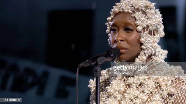 In this screenshot released on April 9, Cynthia Erivo performs during A Grammy Salute To The Sounds of Change.