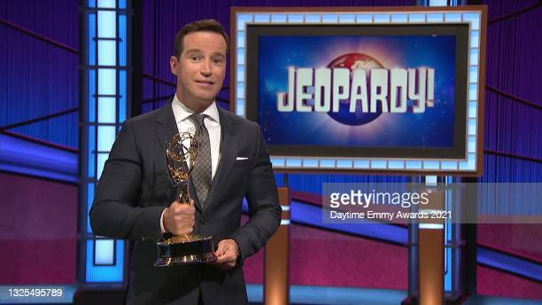 In this screenshot released on June 25, Mike Richards accepts the award for Outstanding Game Show for Jeopardy! during the 48th Annual Daytime Emmy...