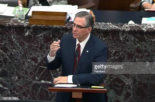 In this screenshot taken from a congress.gov webcast, Bruce Castor Jr., defense lawyer for former President Donald Trump, speaks on the fourth day of...