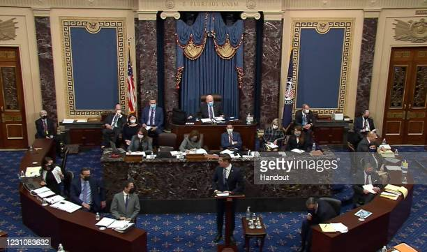 In this screenshot taken from a congress.gov webcast, Impeachment Manager Rep. Eric Swalwell speaks on the second day of former President Donald...