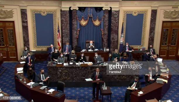 In this screenshot taken from a congress.gov webcast, Lead Impeachment Manager Rep. Jamie Raskin speaks on the first day of former President Donald...