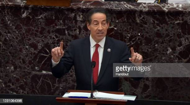 In this screenshot taken from a congress.gov webcast, Rep. Jamie Raskin – lead manager for the impeachment speaks on the first day of former...