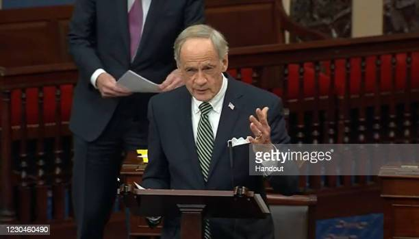 In this screenshot taken from a congress.gov webcast, Sen. Tom Carper speaks during a Senate debate session to ratify the 2020 presidential election...