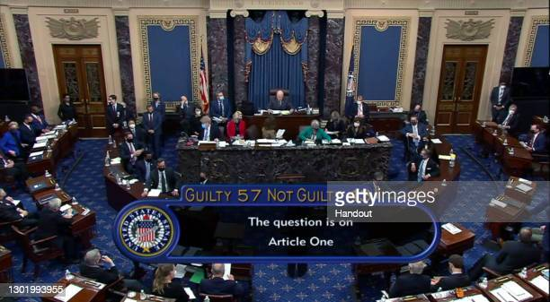 In this screenshot taken from a congress.gov webcast, Senate votes 57-43 to acquit on the fifth day of former President Donald Trump's second...