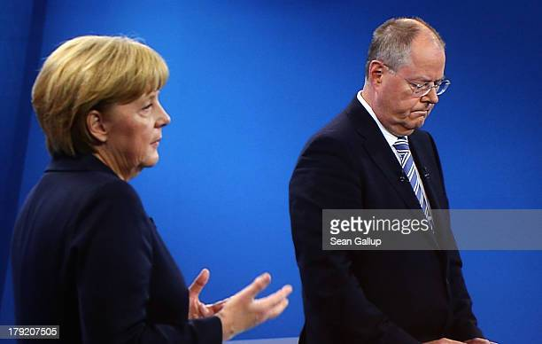 In this screenshot taken from German television German Chancellor and Christian Democrat Angela Merkel and Social Democrats chancellor candidate Peer...