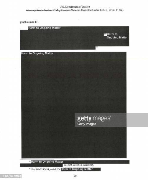 UNSPECIFIED In this screenshot taken from the US Department of Justice website a redacted page from the Mueller Report is seen on April 18 2019