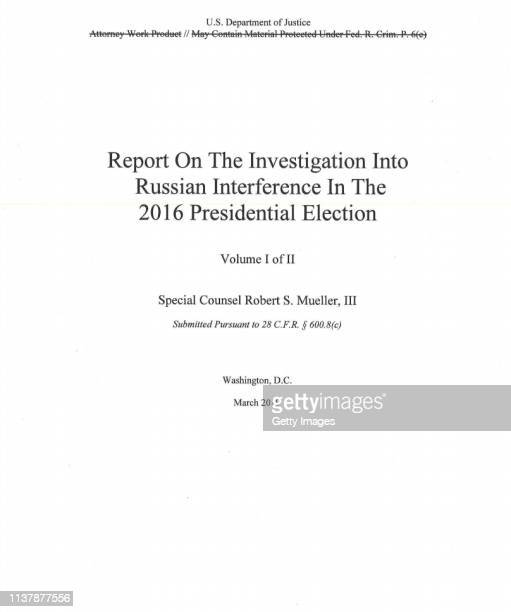 UNSPECIFIED In this screenshot taken from the US Department of Justice website the cover page from the Mueller Report is seen on April 18 2019