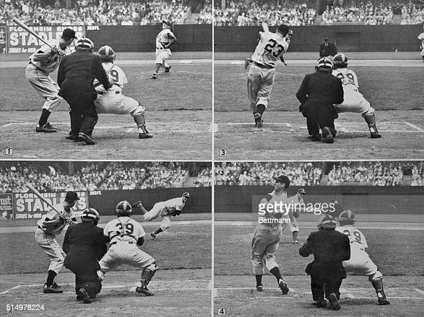 In this sequence type layout, Bobby Thompson, of the N.Y. Giants, is shown facing pitcher Ralph Branca, for the first time since their history-making...