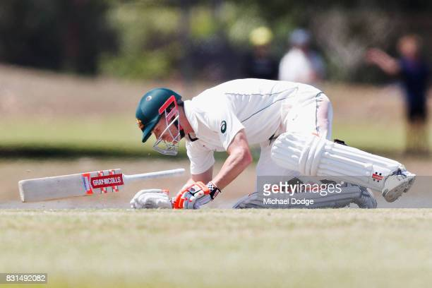In this series David Warner is hit by a Josh Hazelwood bouncer during day two of the Australian Test cricket intersquad match at Marrara Cricket...