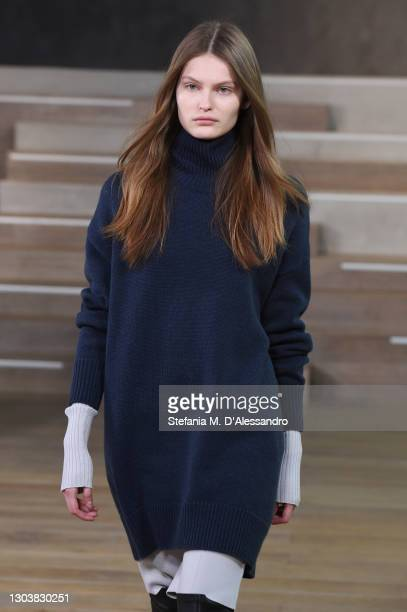 In this shot released on February the 24th, a model walks the runway at the Simona Marziali - MRZ Fashion Show during the Milan Fashion Week...