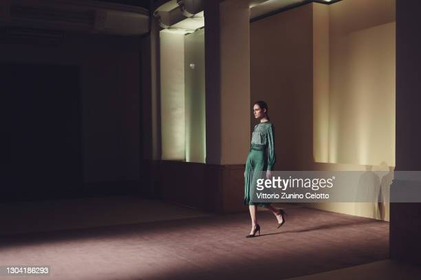 In this shot released on February the 26th, a model walks the runway at the Budapest Select Fashion Show during the Milan Fashion Week Fall/Winter...