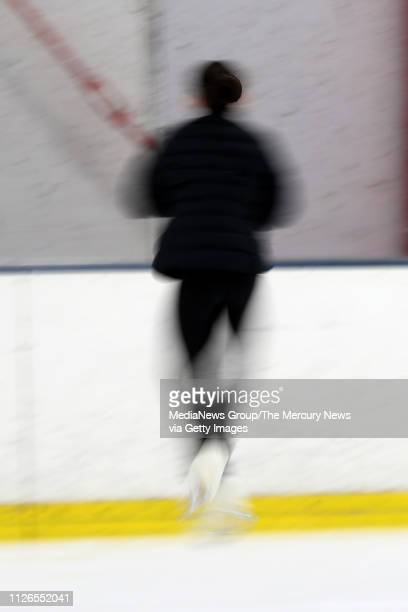 In this slow shutter speed Alysa Liu of Richmond practices at Oakland Ice Center in Oakland Calif on Thursday Jan 31 2019 Liu returned home after...