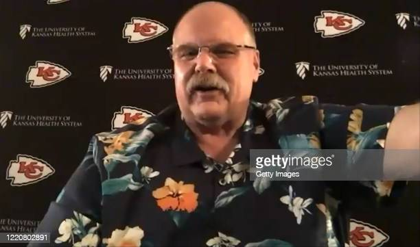 In this still image from video provided by the Kansas City Chiefs, Head Coach Andy Reid speaks via teleconference after being selected during the...
