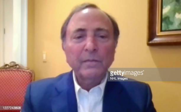 In this still image from video provided by the National Hockey League NHL Commissioner Gary Bettman makes an announcement regarding the League's...