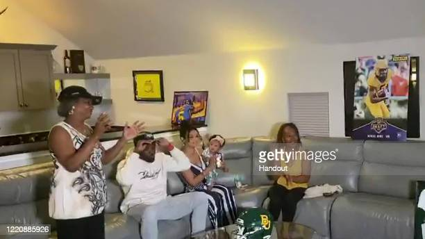 In this still image from video provided by the NFL Denzel Mims is selected by the New York Jets during the second round of the 2020 NFL Draft on...