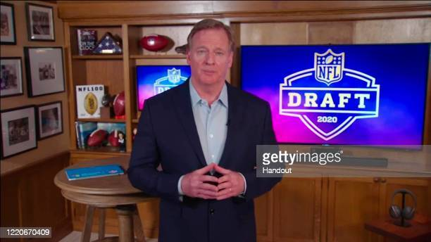In this still image from video provided by the NFL NFL Commissioner Roger Goodell speaks from his home in Bronxville New York during the first round...
