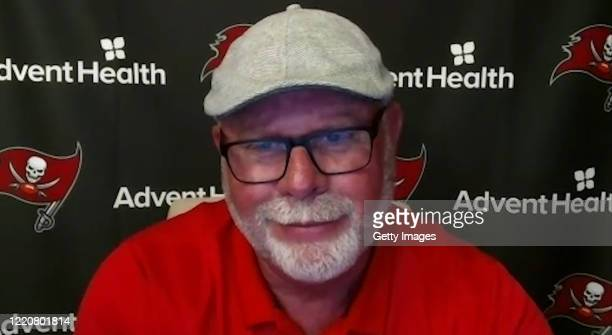 In this still image from video provided by the Tampa Bay Buccaneers Head Coach Bruce Arians speaks via teleconference after being selected during the...