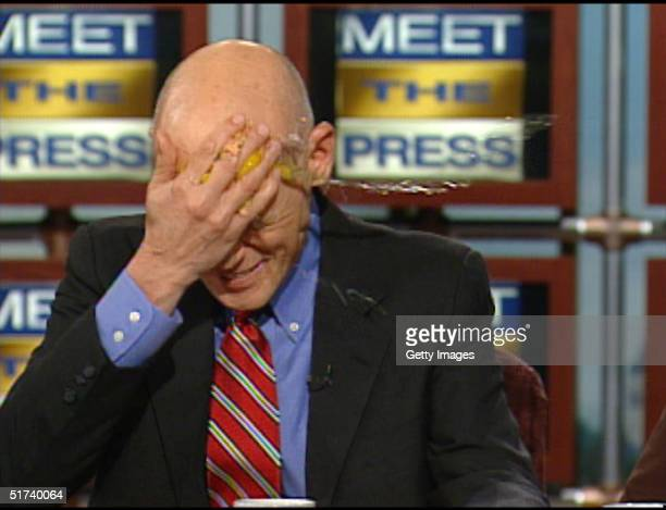 In this television frame grab provided by NBC Democratic strategist James Carville cracks an egg on his forehead to demonstrate he's got egg on his...