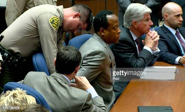 In this TV frame grab Dr Conrad Murray is remanded into custody after the jury returned with a guilty verdict in his involuntary manslaughter trial...