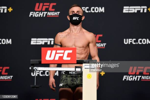 In this UFC handout, Cody Stamann poses on the scale during the UFC weigh-in at UFC APEX on April 30, 2021 in Las Vegas, Nevada.