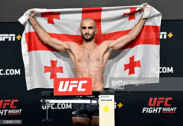 In this UFC handout, Giga Chikadze of Georgia poses on the scale during the UFC weigh-in at UFC APEX on April 30, 2021 in Las Vegas, Nevada.