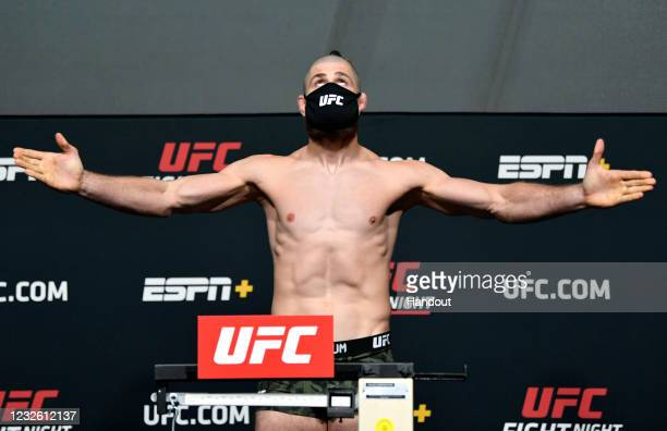 In this UFC handout, Jiri Prochazka of the Czech Republic poses on the scale during the UFC weigh-in at UFC APEX on April 30, 2021 in Las Vegas,...