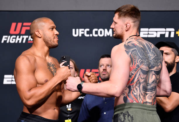 In this UFC handout, Opponents Ciryl Gane of France and Alexander Volkov of Russia face off during the UFC weigh-in at UFC APEX on June 25, 2021 in...