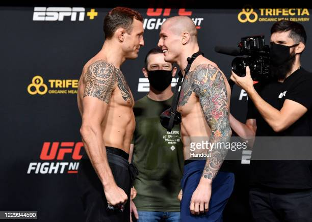 In this UFC handout, Opponents Jack Hermansson of Sweden and Marvin Vettori of Italy face off during the UFC Fight Night weigh-in at UFC APEX on...