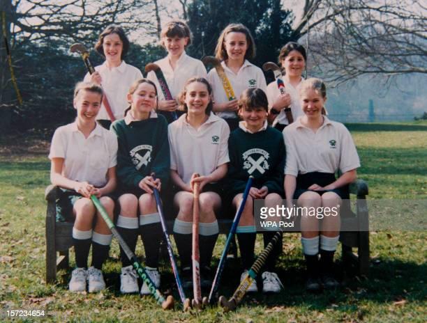 In this undated collect photo provided by St Andrew's School Kate Middleton is pictured in a hockey team photo during her time as a pupil at St...