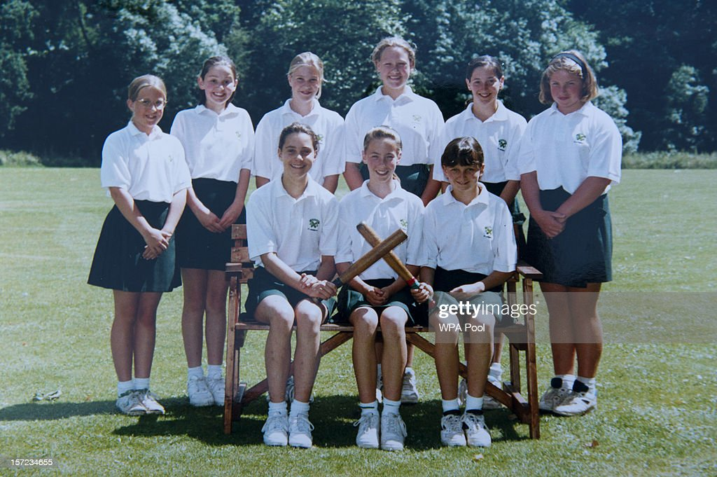 In this undated collect photo provided by St Andrew's School, Kate Middleton (front row, L) is pictured in a rounders team photo during her time as a pupil at St Andrew's School in Pangbourne, Berkshire, England (1986-1995). Catherine, Duchess of Cambridge re-visited her former school on November 30, 2012 to take part in a day of activities and festivities to mark the occasion of St Andrew's Day. The Duchess visited the Pre-Prep School for under-5s, unveiled a plaque to officially open a new artificial turf playing field and met members of the school's hockey team, which she played for during her time as a pupil at the school. She was also given a private tour of the school and watched the school's Progressive Games which are traditional games played indoors by teachers and students on St Andrew's Day.