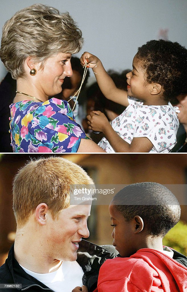 In this undated composite image Prince Harry holds a child like his late mother, Diana, Princess of Wales.