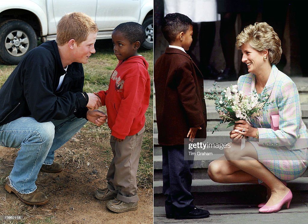 In this undated composite image Prince Harry talks to a child like his late mother, Diana, Princess of Wales.