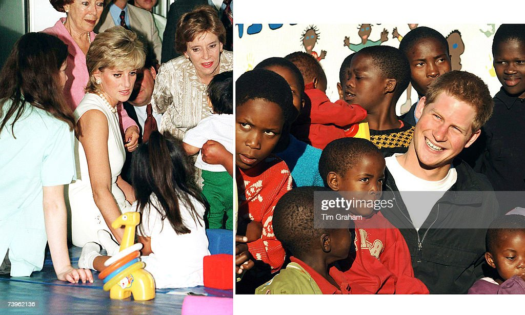 In this undated composite image Prince Harry talks to children like his late mother, Diana, Princess of Wales.