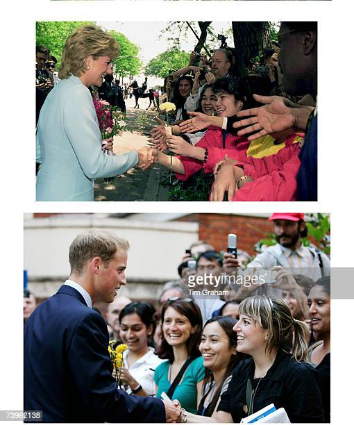 In this undated composite image Prince William greets the public like his late mother Diana Princess of Wales