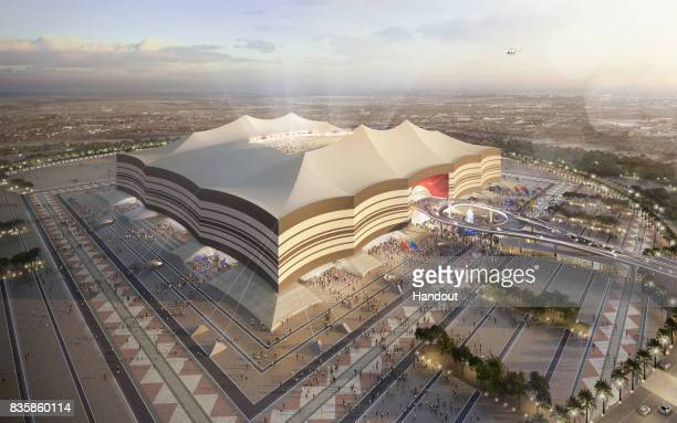 In this undated computer-generated artists impression provided by 2022 Supreme Committee for Delivery and Legacy, the Al Bayt Stadium, a Qatar 2022...