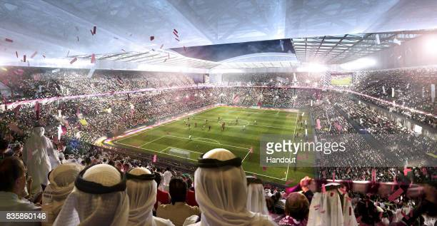 In this undated computer-generated artists impression provided by 2022 Supreme Committee for Delivery and Legacy, the Al Rayyan Stadium, a Qatar 2022...