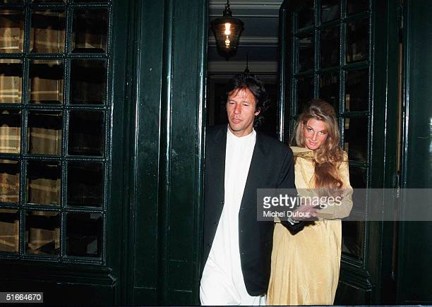 In this undated file photo Imran and Jemima Khan step out together in Paris France Jemima Kahn was seen spending time with Hugh Grant November 4 2004...