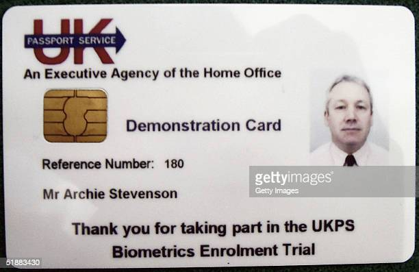 In this undated handout image from the Home of Office a mock indentity card is seen In the first commons vote this week MPs voted by 385 to 93 to...