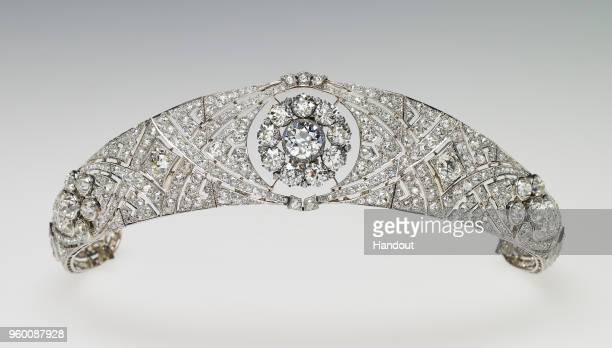 In this undated handout image released by the Royal Household Queen Mary's Diamond Bandeau is pictured which is being worn by Meghan Markle for her...