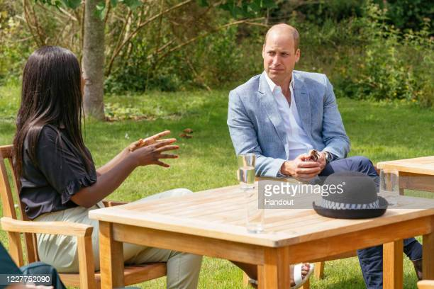 In this undated handout photo issued on July 23, 2020 by Kensington Palace, Prince William, Duke of Cambridge speaks to four representatives from...